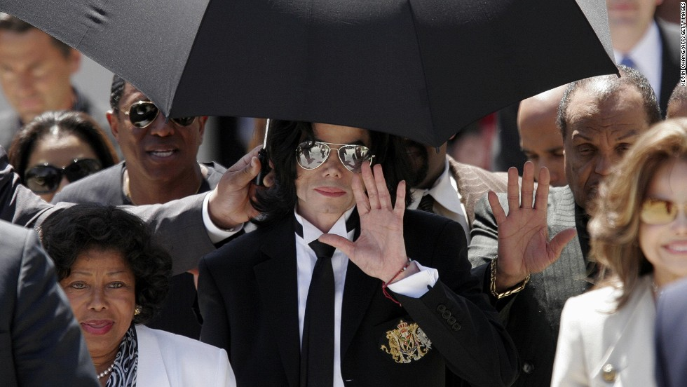 "<a href=""http://www.cnn.com/2005/LAW/06/13/jackson.trial/index.html"">Michael Jackson</a>, flanked by family members, waves after his 2005 acquittal on child molestation charges in Santa Maria, California. If convicted, the late pop icon would have faced nearly 20 years in prison. Jackson died in June 2009 while getting ready for a new tour."