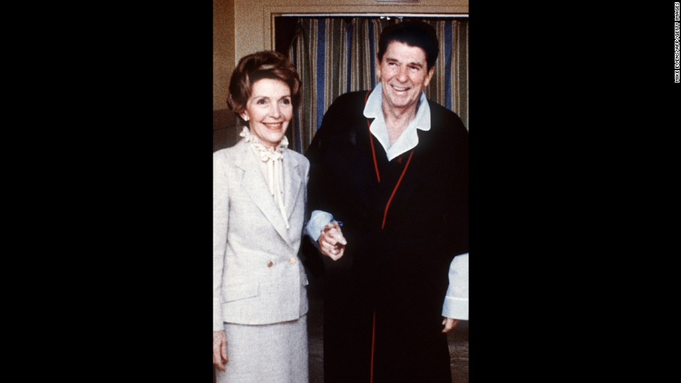 Four days after the assassination attempt, Reagan and the first lady pose for a photo inside the George Washington University Hospital.