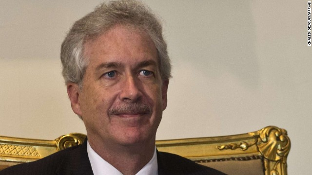 Deputy Secretary of State William J. Burns visits the Egyptian presidential palace in Cairo on Monday.