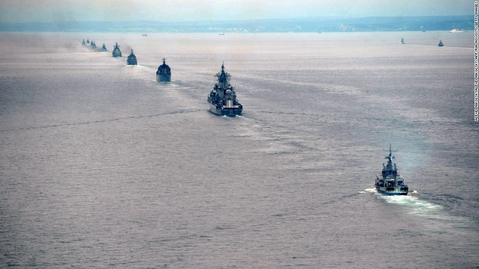 Russian ships take part in the exercises on July 16.