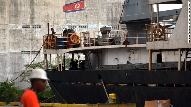 View of the North Korean vessel Chong Chon Gang at Manzanillo harbour in Colon, 90 km from Panama City on July 16, 2013. Panama called Tuesday for UN investigators to inspect a shipment of suspected weapons parts aboard a North Korean-flagged ship as it tried to enter the Panama Canal last week.