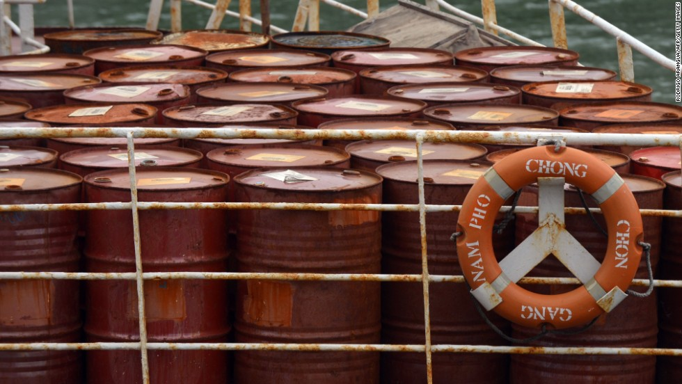 Barrels sit on the deck of the vessel on July 16.