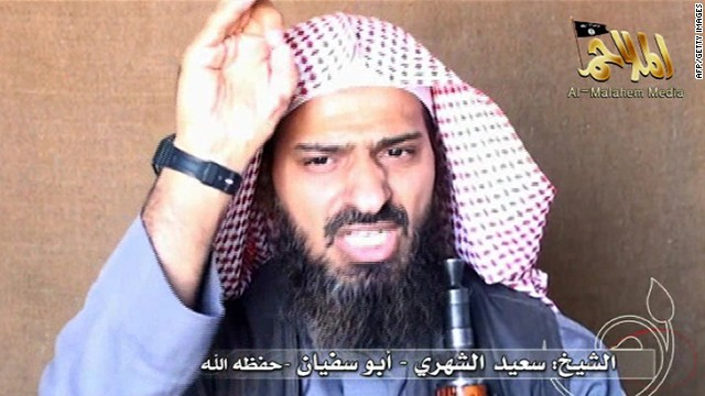 Pictured is Said al-Shihri, a commander in al Qaeda in the Arabian Peninsula, from a video posted on October 6, 2010.