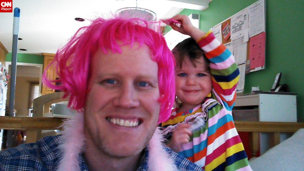 """When it comes to your children you learn that you will do just about anything to make them happy. If it means being silly and putting on a wig and doing my best high voice during a tea party, I will do it,"" says full-time dad of three Chris Bernholdt. (<a href=""http://ireport.cnn.com/docs/DOC-999046"">Read his story.</a>)"
