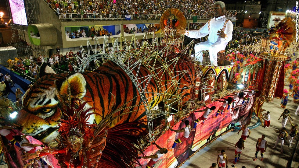 <strong>BRAZIL: </strong>A float by the Porto da Pedra samba school pays tribute to Mandela as it parades at the Sambadrome during the second night of Carnival celebrations in Rio de Janeiro.