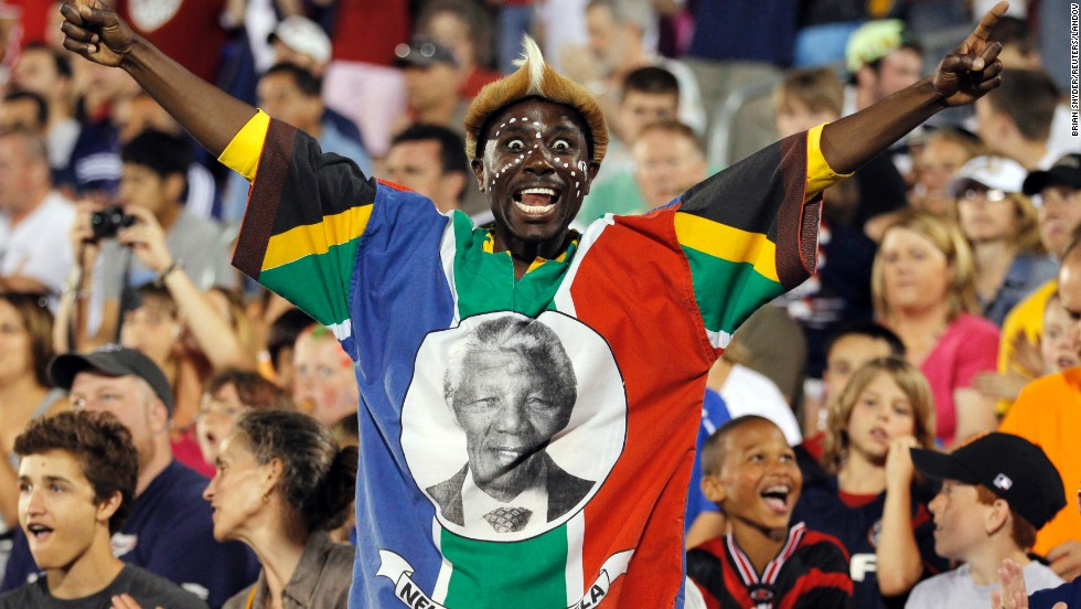 <strong>UNITED STATES: </strong>A fan wearing the colors of South Africa and a portrait of Mandela cheers in the second half of a soccer match between the U.S. and the Czech Republic in East Hartford, Connecticut.