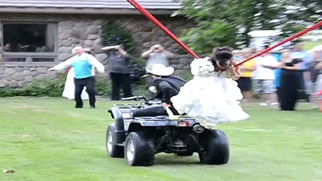 See bride launched in human slingshot