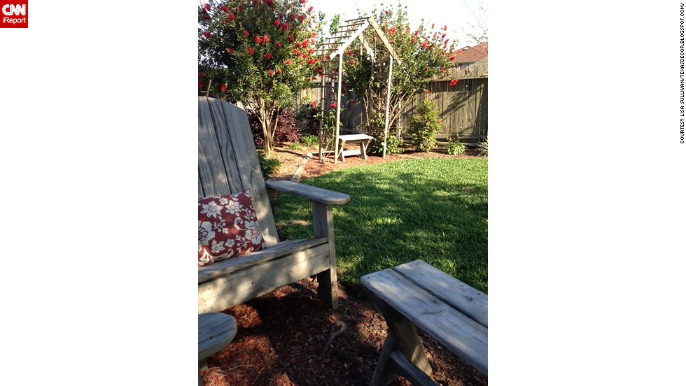 "<a href=""http://ireport.cnn.com/docs/DOC-1004294"">Lisa Sullivan</a> re-purposed her children's old wooden play set by building her own Adirondack chairs."