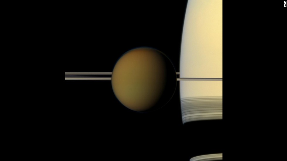 Cassini snapped this picture of Saturn's largest moon, Titan, passing in front of the planet.