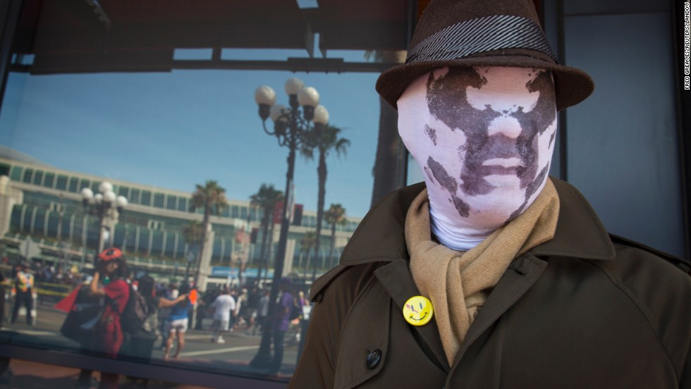 "Cosplayer Noel Victorio is dressed as Rorschach from the graphic novel ""Watchmen"" on July 18."