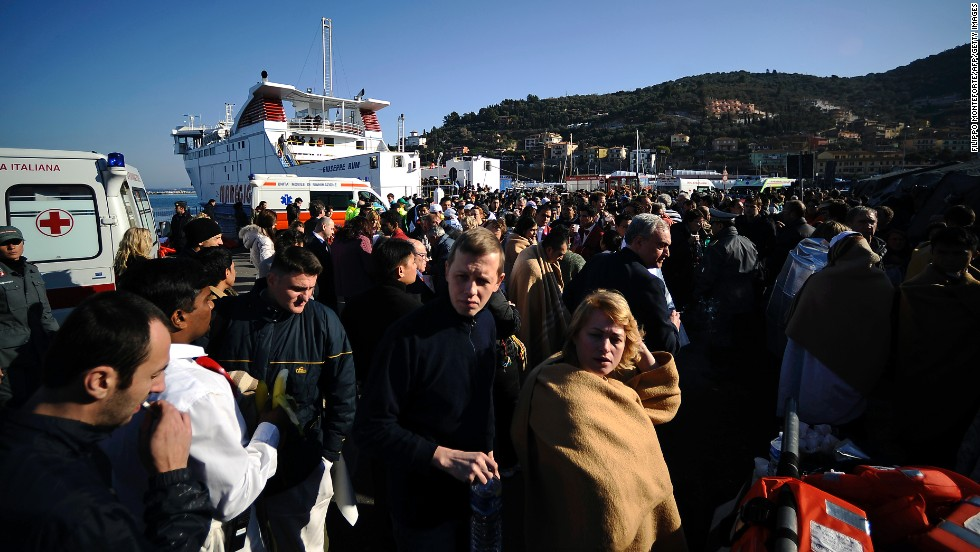 Rescued passengers arrive at Porto Santo Stefano, Italy, on January 14, 2012. The Costa Concordia was carrying 3,200 passengers and 1,000 crew members.