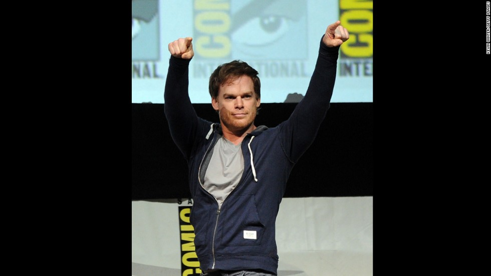 "Actor Michael C. Hall speaks onstage at Showtime's ""Dexter"" panel at San Diego Convention Center on July 18. The final season of ""Dexter"" premieres June 30."
