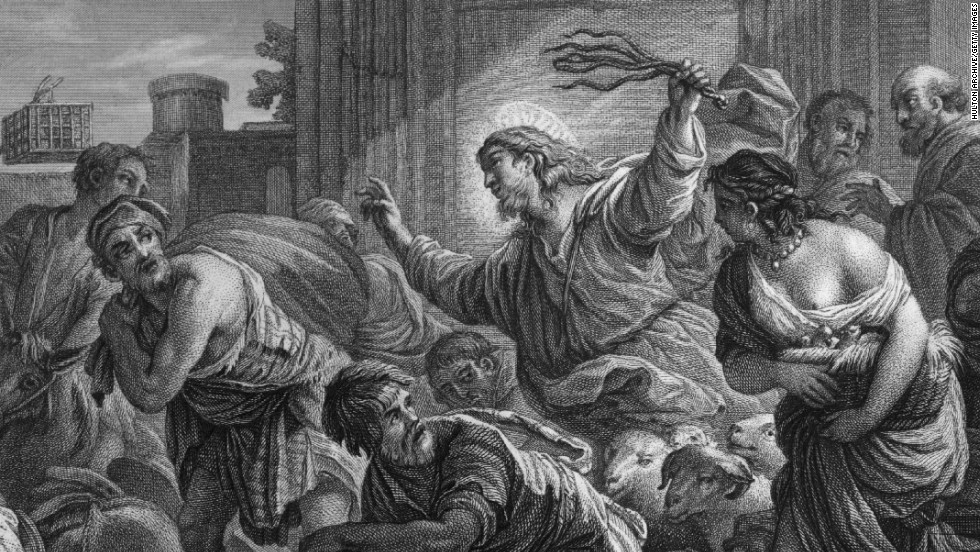 Here Jesus is shown angrily purging the Temple in Jerusalem of money changers and traders.