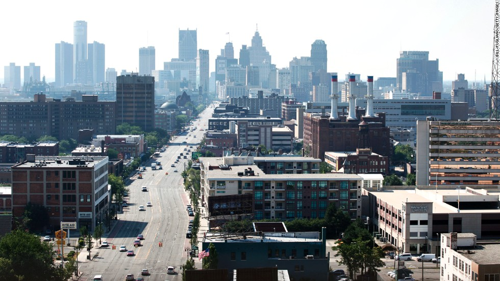 A view of downtown Detroit, looking south on Woodward Avenue. The Rust Belt city's emergency manager Kevin Orr filed for Chapter 9 bankruptcy July 18, 2013, making Detroit the largest city to file for bankruptcy in U.S. history.