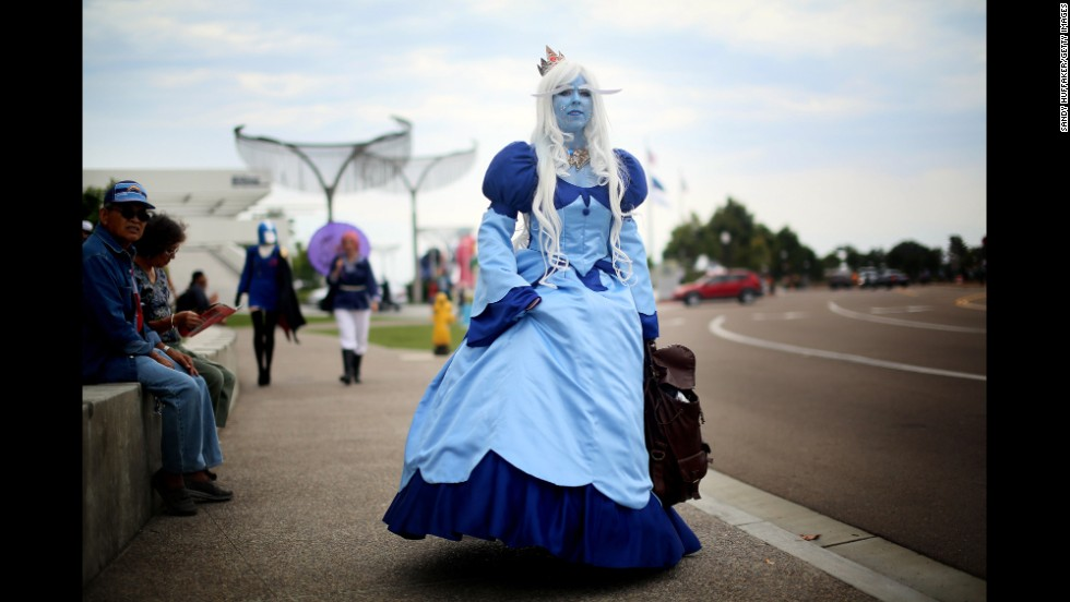 Amanda King wears an Ice Queen costume on July 19.