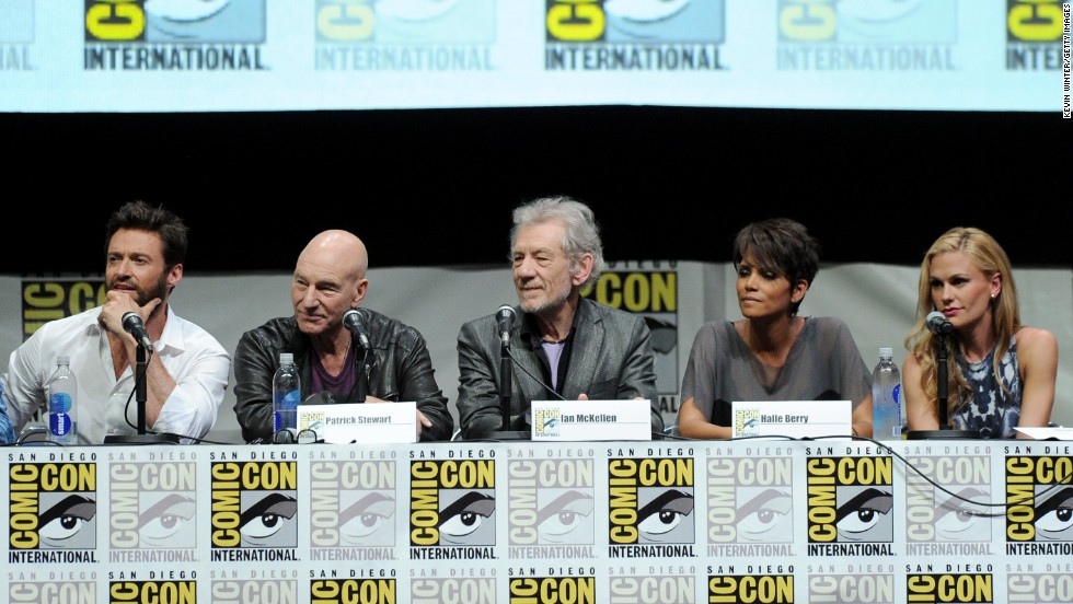Hugh Jackman, from left, Patrick Stewart, Ian McKellen, Halle Berry and Anna Paquin speak at the 20th Century Fox panel on July 20.