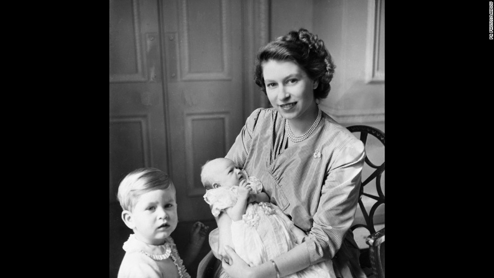 Then-Princess Elizabeth with Prince Charles and newborn Princess Anne in September 1950.