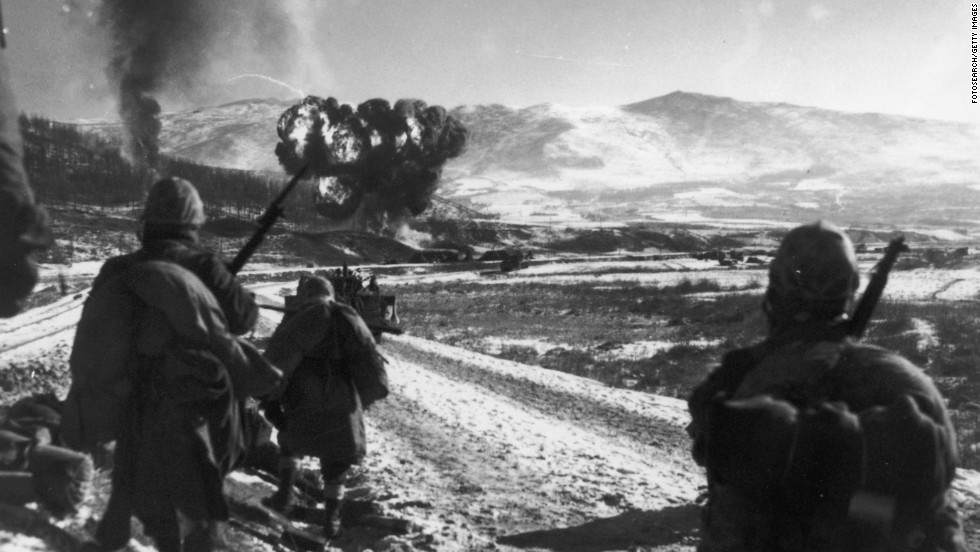 U.S. Marines attack Hagaru-ri, North Korea, in December 1950.