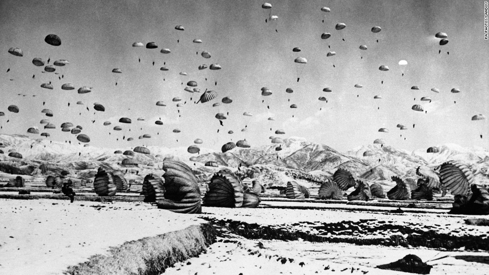 The 187th U.S. Airborne Regimental Combat Team conducts a practice jump in South Korea, circa 1951.