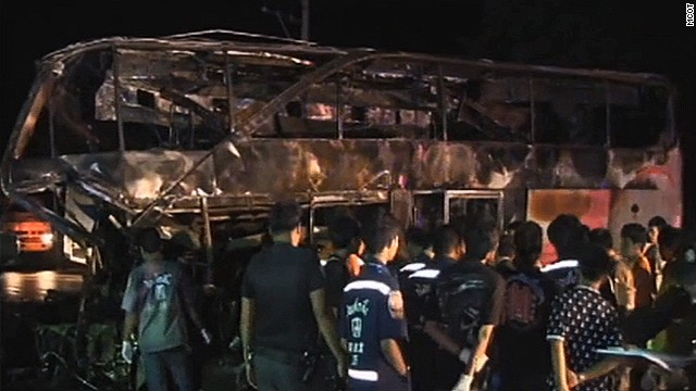 Charred remains of the ill-fated bus that crashed in central Thailand on Tuesday.
