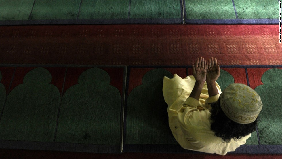 A Muslim man prays at the Jame Mosque in Kathmandu, Nepal, on Tuesday, July 23.