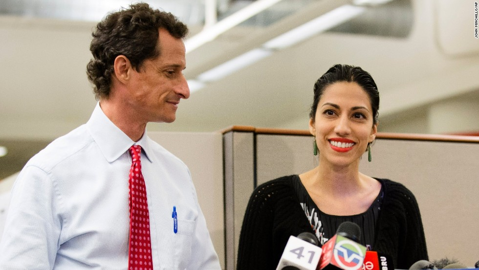 Anthony Weiner and his wife, Huma Abedin, hold a press conference on Tuesday, July 23, to address explicit online exchanges that were published by a gossip website.