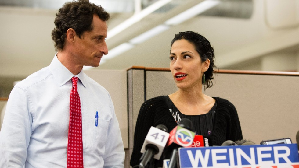 With his wife, Huma Abedin, by his side, New York mayoral candidate and former congressman Anthony Weiner confirms on July 23 that some of the sexually explicit online exchanges that were published by a gossip website happened after previous revelations forced him to resign from the U.S. House in 2011.