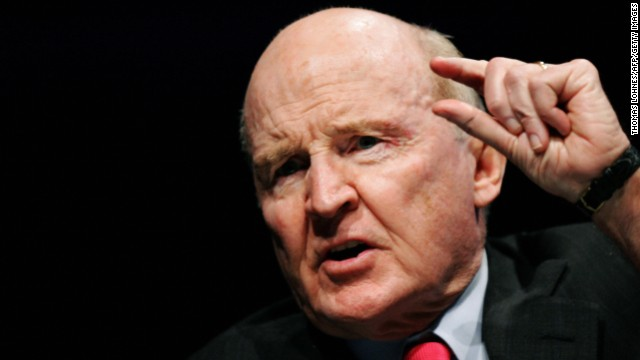 "Former General Electric chairman Jack Welch gestures as he speaks on 04 November 2005 during the ""World Business Forum"" in Frankfurt. The World Business Forum is a symposium featuring eminent leaders and thinkers speaking on topics of the utmost importance to the business community."