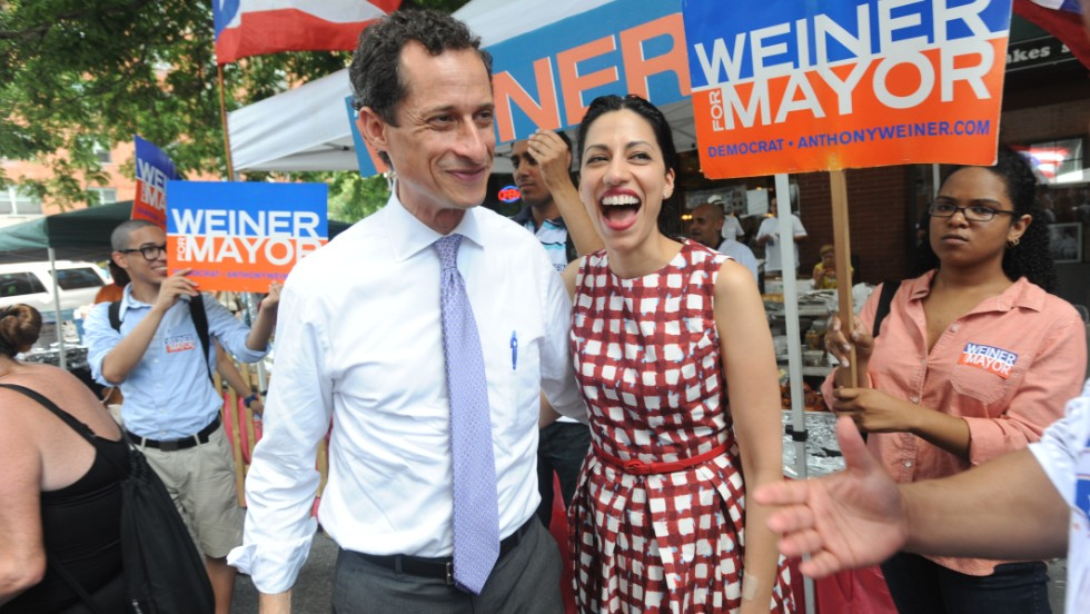 Abedin appears with Weiner on July 14 while he campaigns to become New York's mayor.