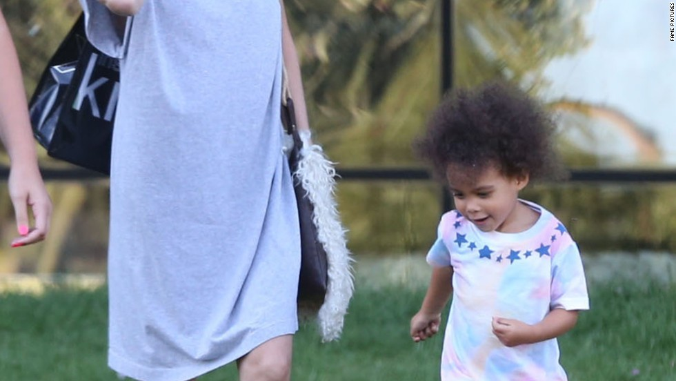 Ellen Pompeo and her daughter enjoy the lawn at the Pacific Design Center in West Hollywood on July 23.
