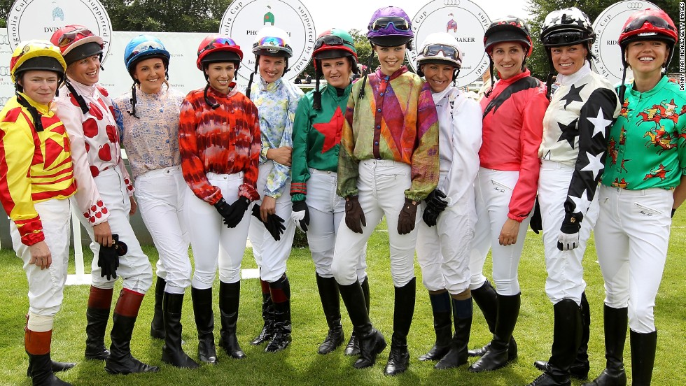 A group of female amateur jockeys prepare to take part in the women's only race at Glorious Goodwood.