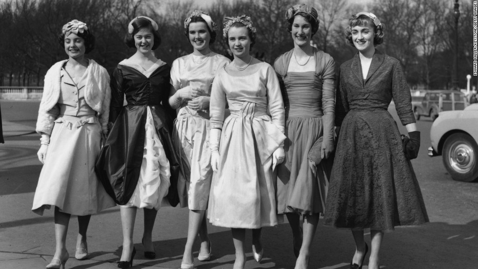 A group of debutantes outside Buckingham Palace in 1958 -- the last year the tradition of meeting the reigning monarch was in place.