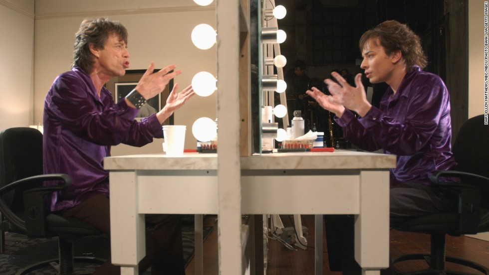 "Jimmy Fallon acts like Mick Jagger's reflection during the ""Mick & Mick"" skit on ""Saturday Night Live"" in 2001."