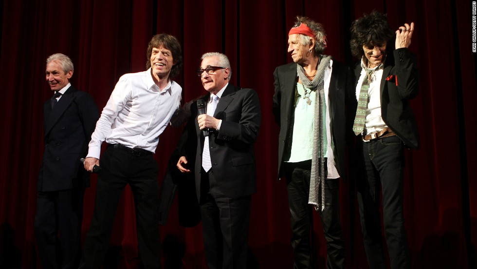 From left, Charlie Watts, Mick Jagger, director Martin Scorsese, Keith Richards and Ronnie Wood attend the opening ceremony for the 2008 Berlinale International Film Festival in Berlin, Germany.