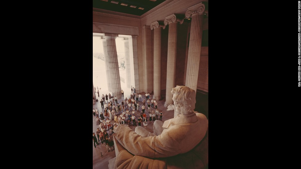 The Lincoln statue looms over visitors in 1962.