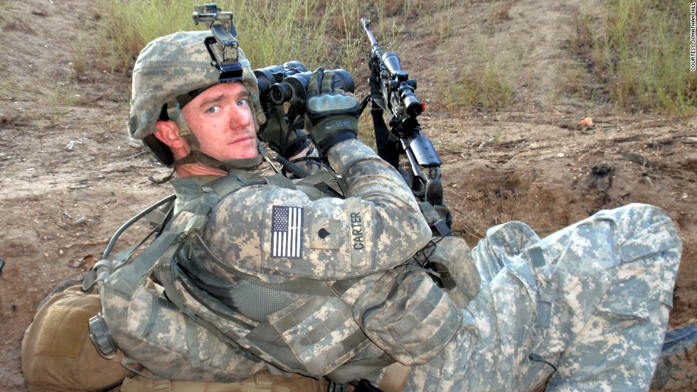 "Carter on patrol from Combat Outpost Keating, where he was a member of the Blue Platoon, nicknamed ""The Bastards."""