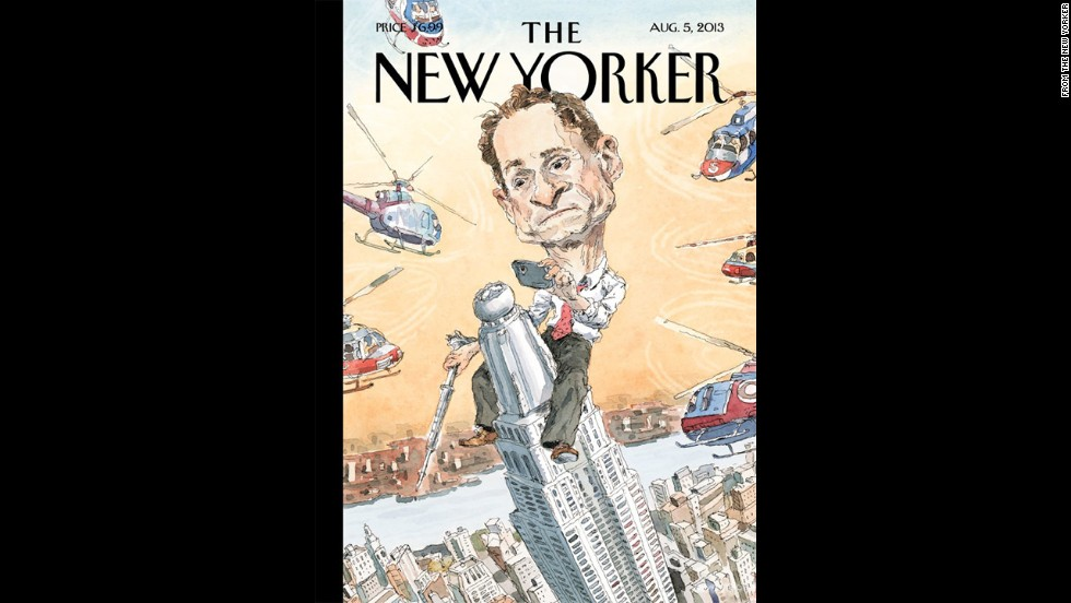 New York City mayoral candidate Anthony Weiner found himself in hot water once again after admitting he had online relationships with three women after his 2011 resignation from Congress. The New Yorker magazine's cover in August 2013 depicted Weiner as King Kong, taking a photo with a cell phone atop the Empire State Building.