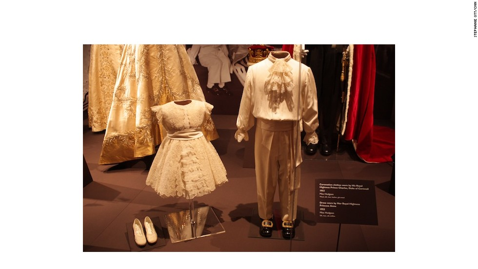 Outfits worn on Coronation Day by the then four-year-old Prince Charles and his two-year-old sister Princess Anne.