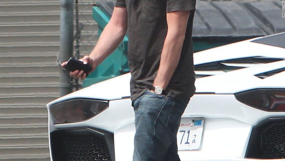 Aaron Paul goes for a drive in Los Angeles on July 25.