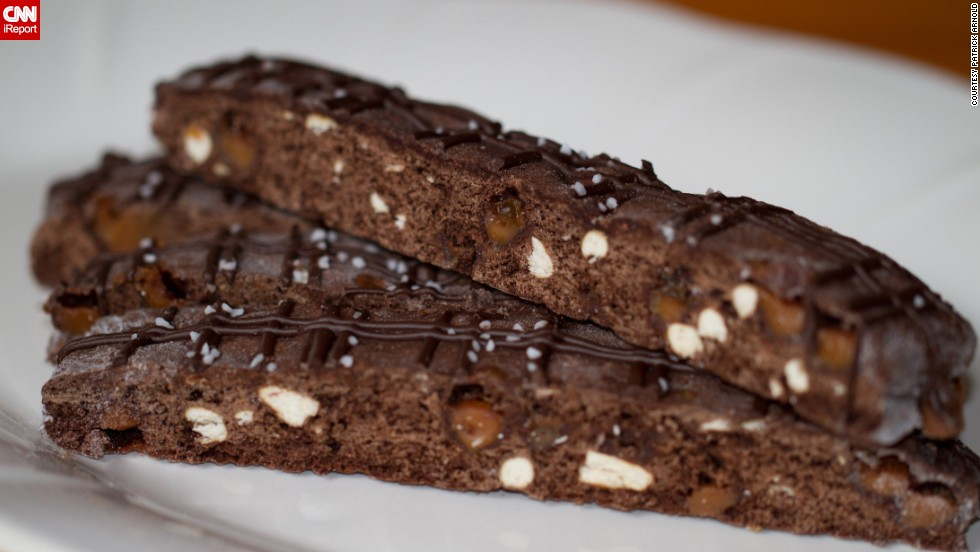 Vu's chocolate-caramel pretzel biscotti is a combination of sweet and savory flavors. This treat was inspired by her husband, who challenged her to re-create his favorite candy: salted caramel.