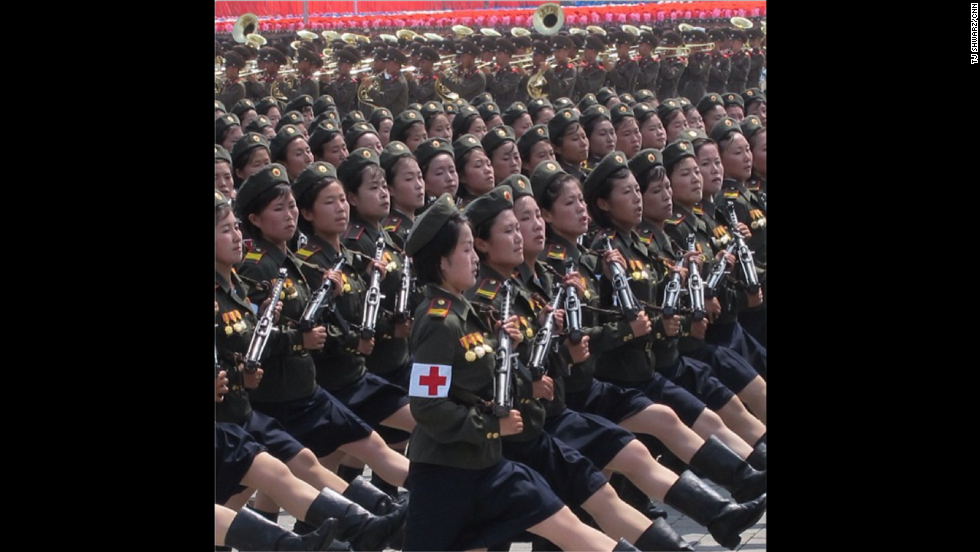 "At one of the specially organized, <a href=""http://instagram.com/p/cRmqxpBqNP/ "" target=""_blank"">expertly synchronized parades</a>, these female army medics marched perfectly in line as they paraded through Pyongyang's Kim Il Sung Square."