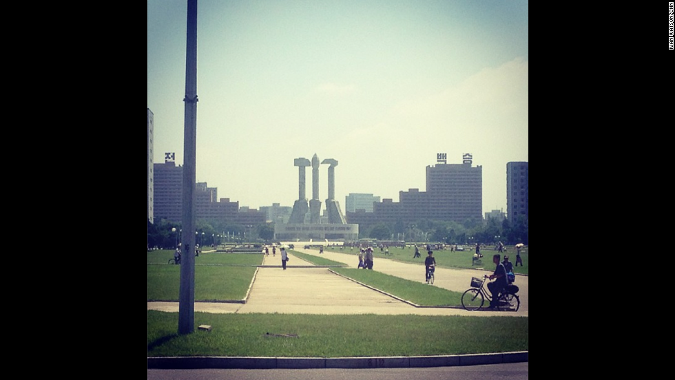 "The Communist nation also proudly displays in Pyongyang the signs of its ideology -- <a href=""http://instagram.com/p/cOGfPqCDb8/"" target=""_blank"">the hammer and the sickle here </a>loom over visitors and locals alike in the city."