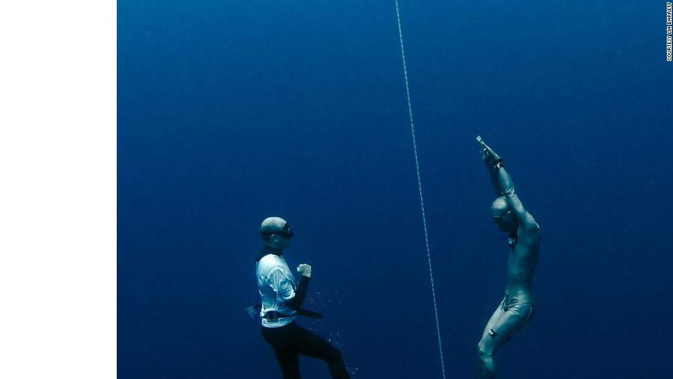 """You definitely want to get into a completely realxed state mentally and physically before you dive,"" said champion freediver William Trubridge. ""You generally lie down before a dive, relax, breathe normally and visualize what you're about to do."""