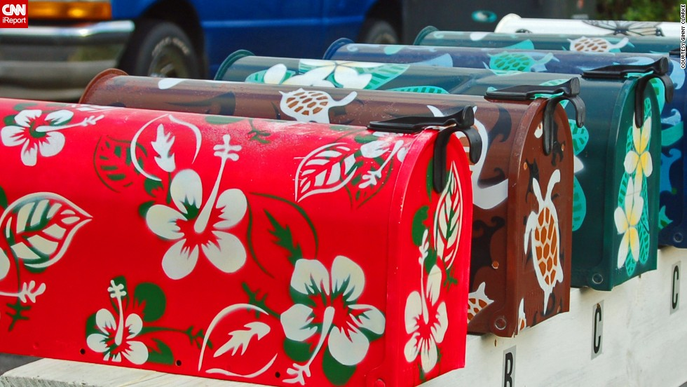 "<a href=""http://ireport.cnn.com/docs/DOC-1012058"">Ginny Clarke </a>spotted these Hawaiian-shirt-inspired mailboxes while wandering through a neighborhood on the island of Oahu."