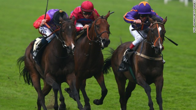 Estimate with jockey Ryan Moore (left) taking up the running on the way to Gold Cup glory at Royal Ascot earlier this year.