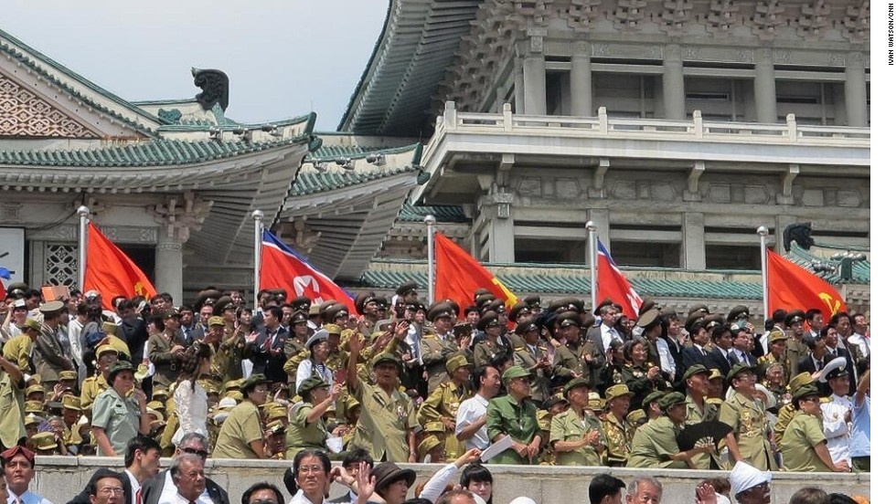 North Korea thanked Chinese veterans, who were dressed in a lighter green uniform, for fighting alongside its soldiers in the Korean War at a ceremony on July 27.