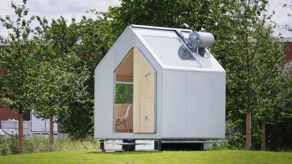 Professional architects have also become interested in the idea of economical, ecological living. Renzo Piano's 'Diogene' house is a tiny 65 square-foot wooden building designed to promote self-sufficiency. The house collects and recycles its own water, and is powered by solar cells in its roof.