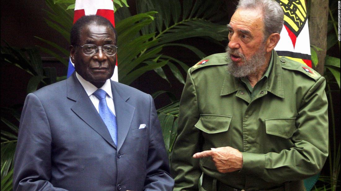 Mugabe and Cuban President Fidel Castro are seen in Havana, Cuba, in September 2005.