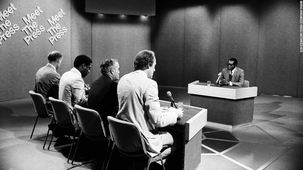 "From left, NBC News moderator Bill Monroe, Newsday's Les Payne, the Chicago Sun Times' Robert Novak and NBC News' Garrick Utley speak with Mugabe during an episode of ""Meet the Press"" in 1980."