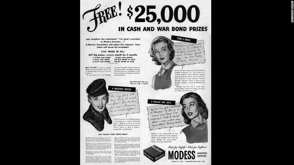 This advertisement from a 1943 McCall's magazine offers prizes -- in the form of war bonds -- for women's stories about transitioning to Modess brand sanitary napkins.